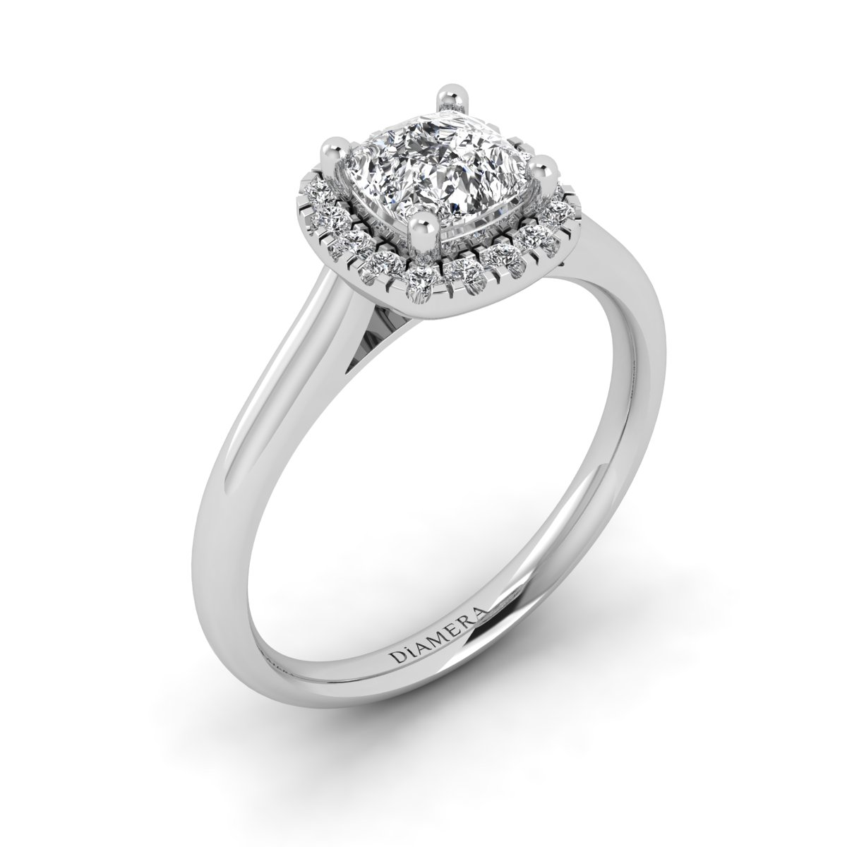 18K White Gold Classic Halo Engagement Ring
