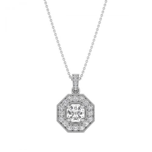 18K White Gold Octagon Frame Diamond Pendant