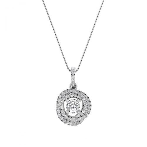 18K White Gold On-trend Round Diamond Pendant