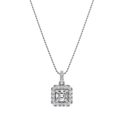 18K White Gold Gracious Princess Diamond Pendant