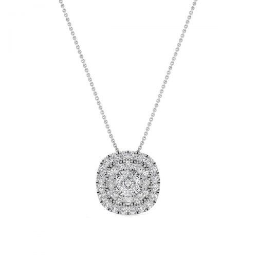 18K White Gold Trendy Cushion Diamond Pendant