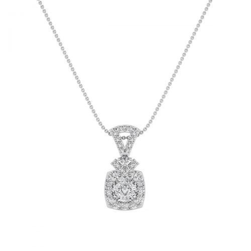 18K White Gold Chic Trend Diamond Pendant