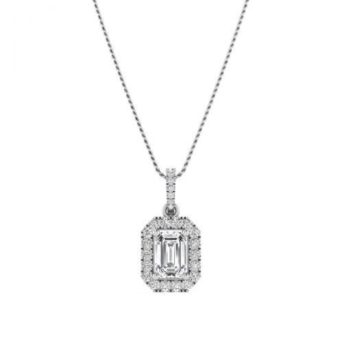 18K White Gold Dazzling Emerald Diamond Pendant