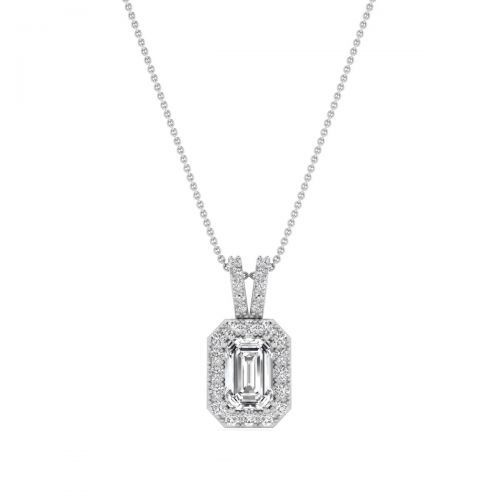18K White Gold Dainty Emerald Diamond Pendant