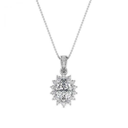 18K White Gold Sparkling Sunburst Diamond Pendant