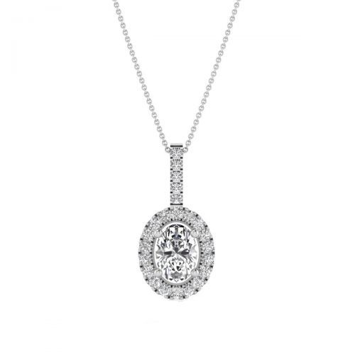 18K White Gold Luminous Oval Diamond Pendant