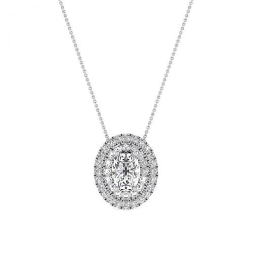 18K White Gold Chic Oval-Cut Diamond Pendant