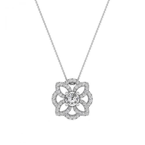 18K White Gold Dainty Floral Diamond Pendant