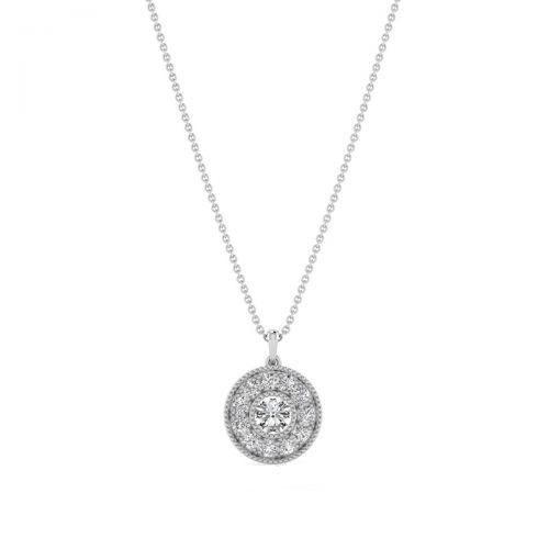 18K White Gold Pretty Halo Diamond Pendant