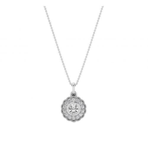 18K White Gold Antique Vein  Diamond Pendant