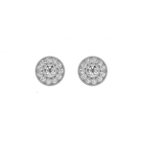 18K White Gold Pretty Round Halo Diamond Stud Earrings