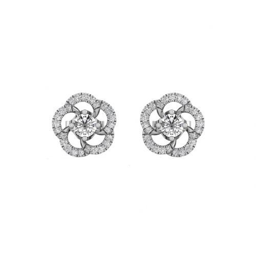 18K White Gold Chic Round Floral Designer Stud Earrings
