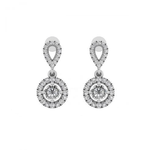 18K White Gold Brilliant Chic Round Diamond Drop Earrings
