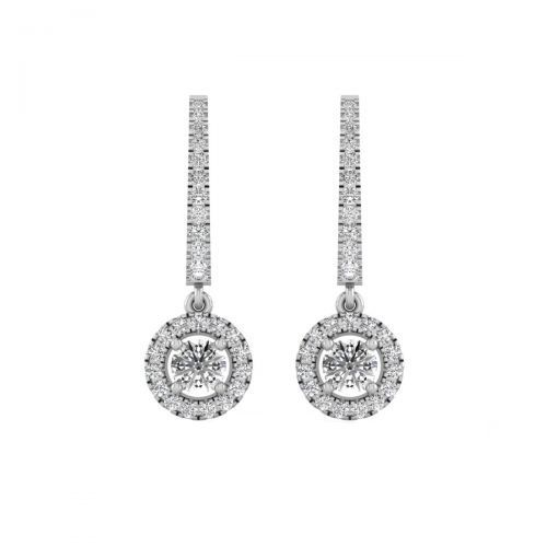 18K White Gold Dainty Round Diamond Drops Earrings