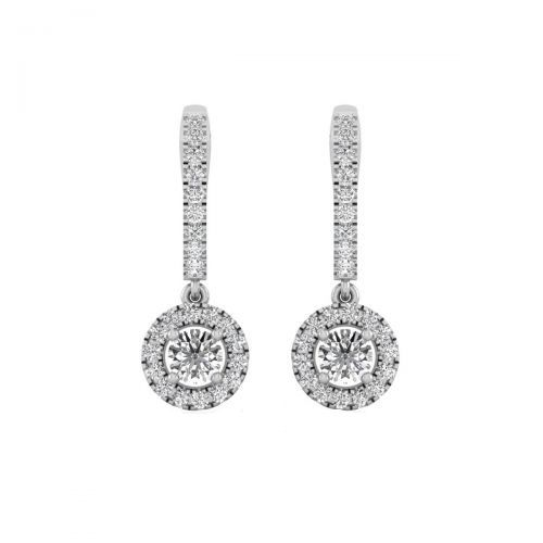 18K White Gold Dazzling Omega Clip Diamond Drops Earrings