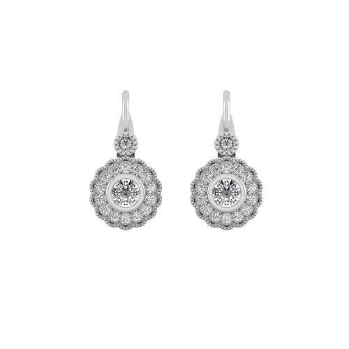 18K White Gold Vintage Floral Diamond Hoops Earrings