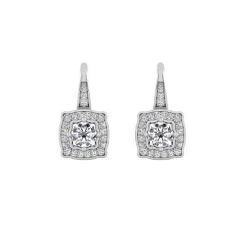 18K White Gold Glorious Round Diamond Hoops Earrings
