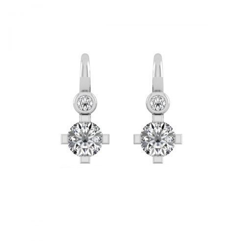 18K White Gold Classic Solitaire Diamonds Hoops Earrings