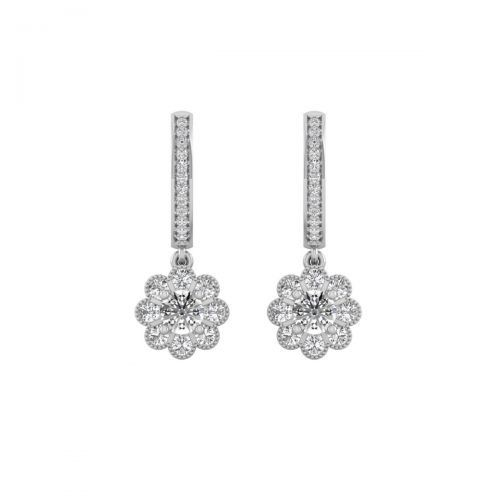 18K White Gold Girlish Floral Diamonds Drops Earrings