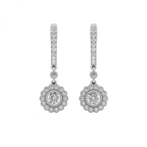 18K White Gold Bloomy Floral  Diamond Drops Earrings