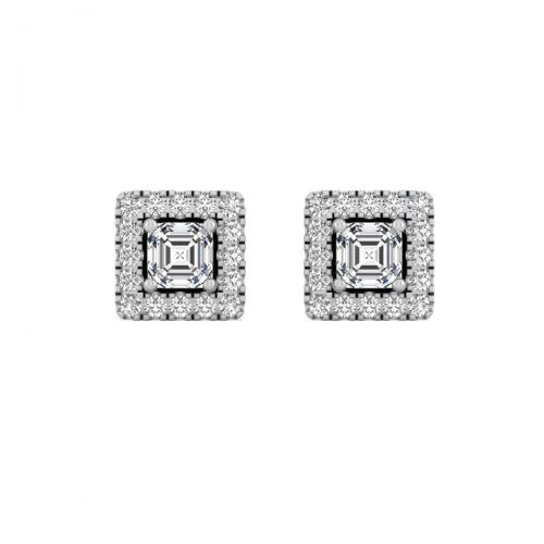 18K White Gold Alluring Princess Diamond Stud Earrings