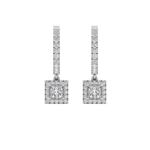 18K White Gold Elegant Luster Princess Diamond Drop Earrings