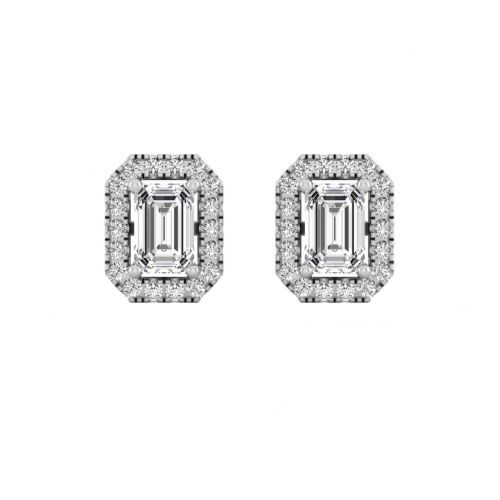 18K White Gold Dazzling Emerald-cut Diamond Stud Earrings
