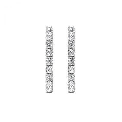 18K White Gold Classic Round Diamond Hoops Earrings