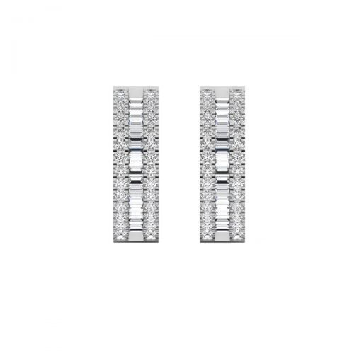 18K White Gold Vintage Baguette Diamond Hoops Earrings