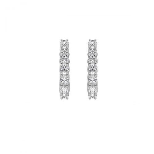 18K White Gold Alluring Seven Diamond Hoops Earrings