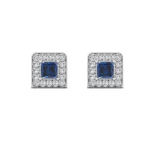 18K White Gold Blue Sapphire Luxe Diamond Stud Earrings