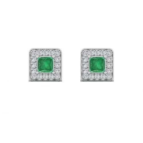 18K White Gold Emerald Luxe Halo Diamond Stud Earrings