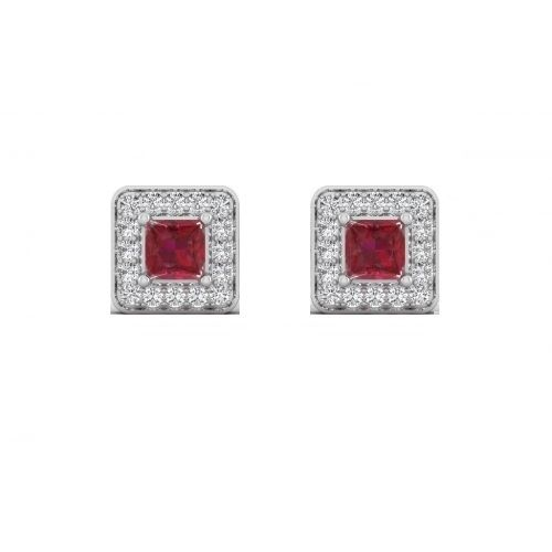 18K White Gold Ruby Luxe Princess Diamond Stud Earrings