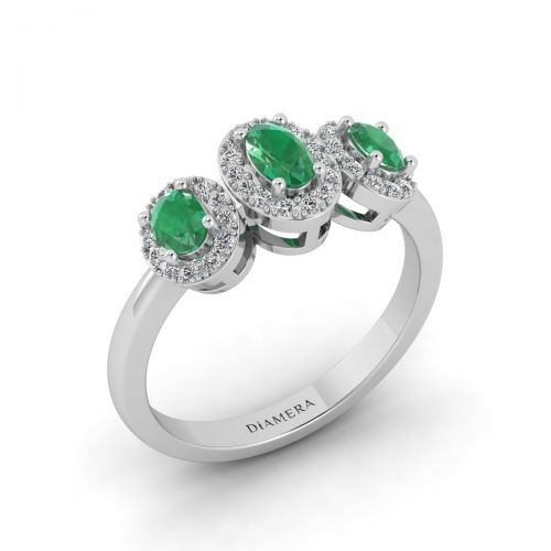 Vintage Trio Emerald Ring