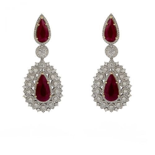 Vintage Pear Ruby Earrings
