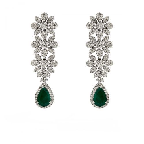 Pretty Flower Pear Emerald  Drop Earrings