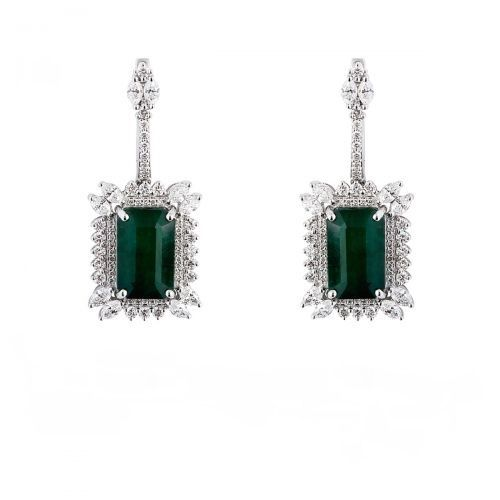 Chic Halo Vintage Emerald Drop Earrings