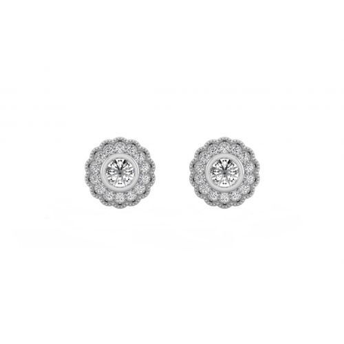 Antique Vein Round Diamond Stud Earrings