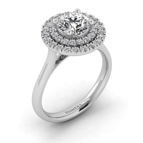 Double Frame Halo Engagement Ring with 0.3 Carat Round Diamond