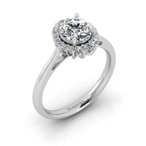 18K White Gold Dainty Halo Engagement Ring