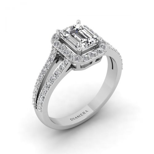 18K White Gold Halo Open Shank Engagement Ring