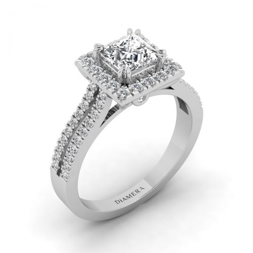 18K White Gold Halo Princess Engagement Ring