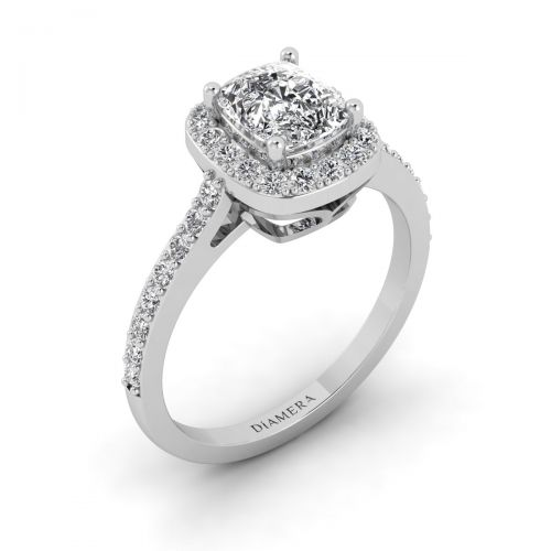 18K White Gold  Halo Cushion Cut Engagement Ring