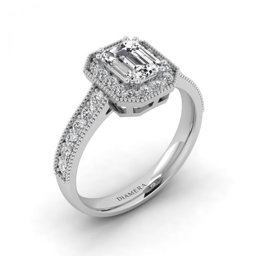 18K White Gold Milgrain Halo Engagement Ring
