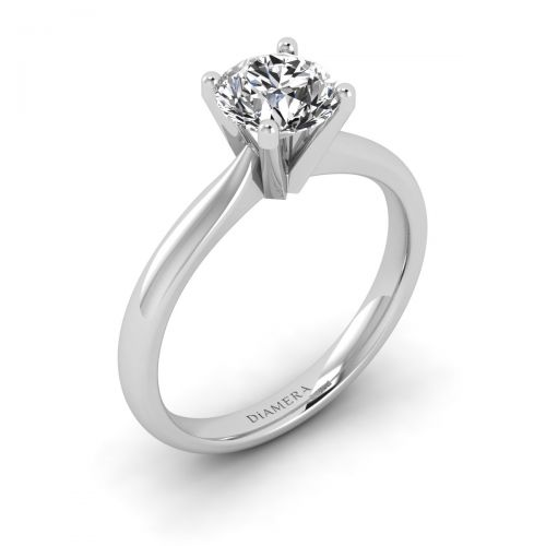 18K White Gold  Olivia Solitaire Engagement Ring with 1.01 Carat Round Diamond