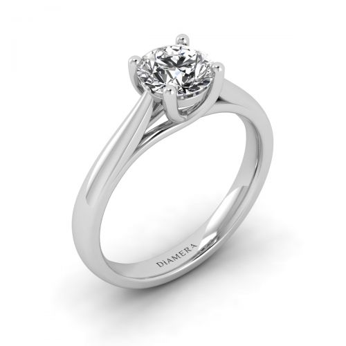 18K White Gold Valerie Solitaire Engagement Ring with 1 Carat Round Diamond