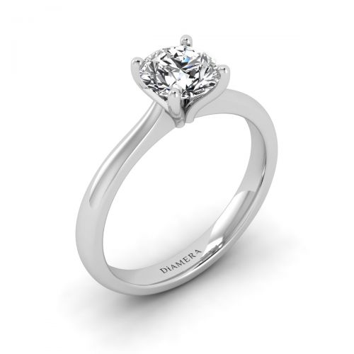 18K White Gold Grace Solitaire Engagement Ring with 0.21 Carat Princess Diamond