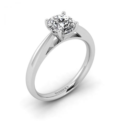 18K White Gold Zahra Solitaire Engagement Ring
