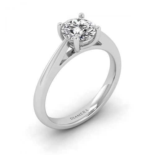 18K White Gold Marina Solitaire Engagement Ring