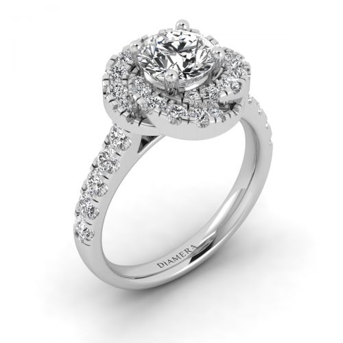 18K White Gold Chic Twirl Halo Engagement Ring with 0.9 Carat Round Diamond